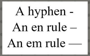 Hyphen and dashes(1)