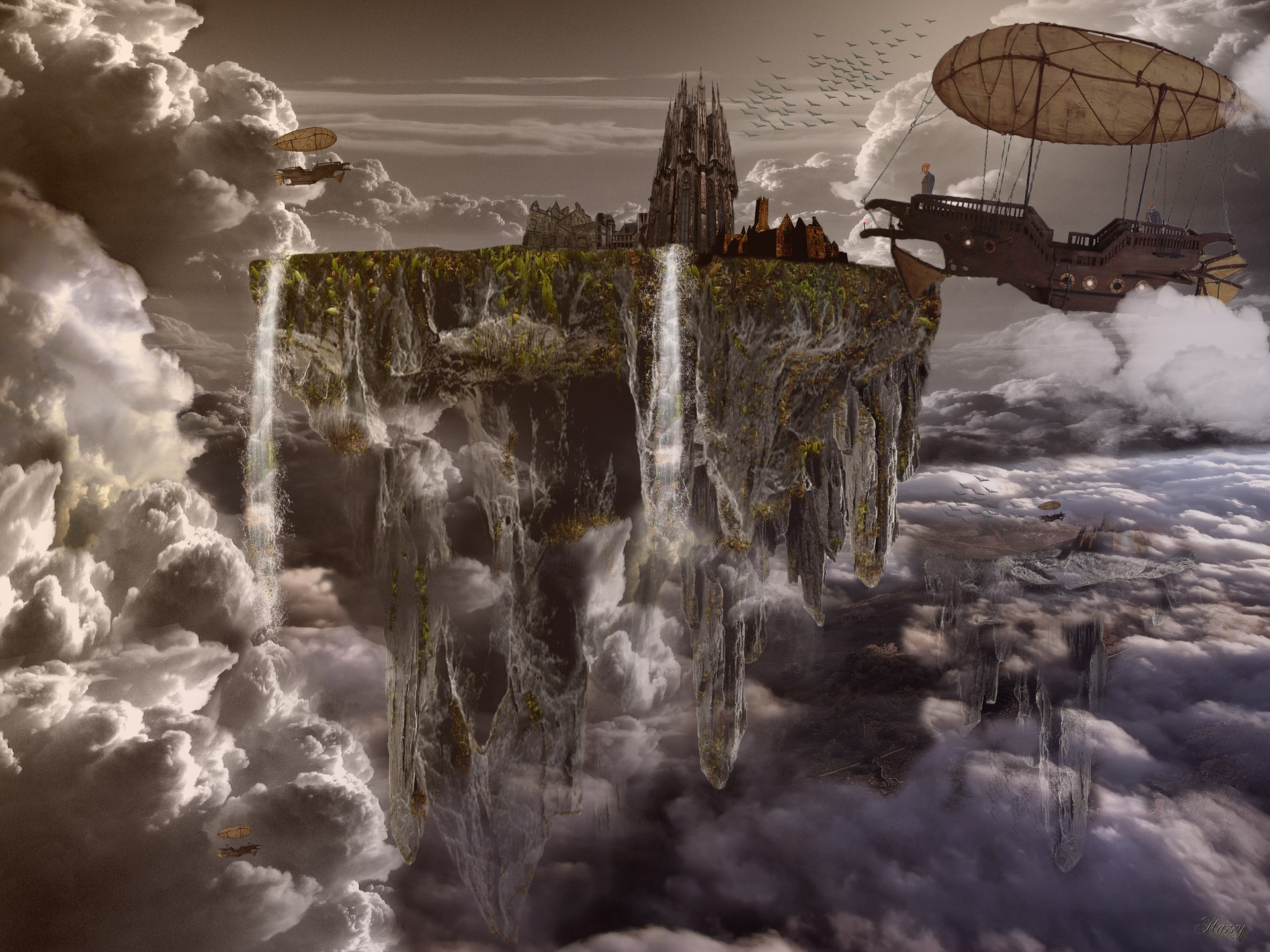 City on piece of land positioned in the air and surrounded by clouds. Steam-punk-style airship to the right